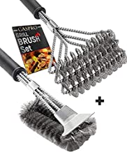 BBQ Grill Brush Set of 2, Safe Grill Cleaning Brush Stainless Steel Bristle Free with Scraper for Porcelain, Cast Iron, Stainless Steel, Ceramic Grill Grate Cooking Grid, 18
