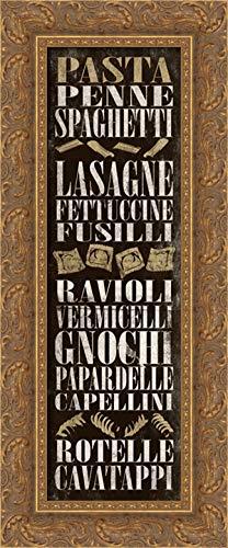 Grey, Jace 11x24 Gold Ornate Framed Canvas Art Print Titled: Pasta Utensils