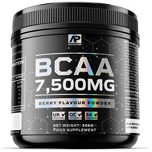 BCAA 7500mg Powder – Berry Flavour BCAA Drink - 1+ Months Supply – 7500mg per Serving – Includes L-Leucine, L-Isoleucine and L-Valine with B5 (306 Grams)