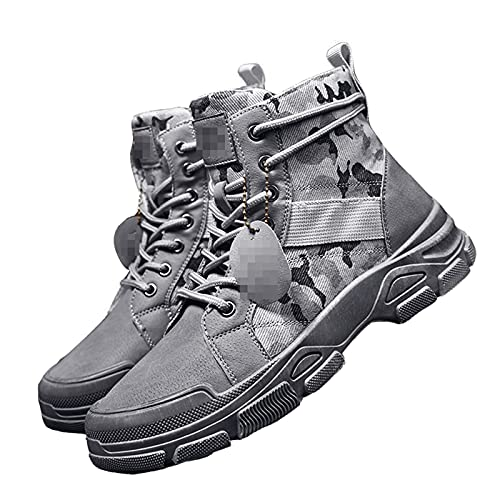 ZHAOJ Boys Camouflage Boots Trend Casual Martin Boots Retro Desert Military Boots,Gray,43