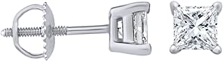 Natural Diamond Princess cut Stud (IGI Certified 0.70 ct & up) Plus Quality Earrings in 14K Solid Gold, (0.04ct - 2.00ct, Clarity - I2- I3) Plus Quality