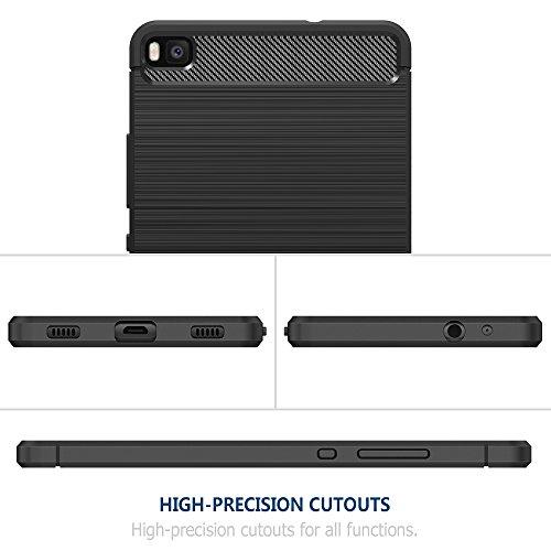 Simpeak Hülle Kompatibel für Huawei P8, Premium Weiche Karbonfaser Elastisch Schützendes Rückseiten-Case Kompatibel mit Huawei P8 - 5