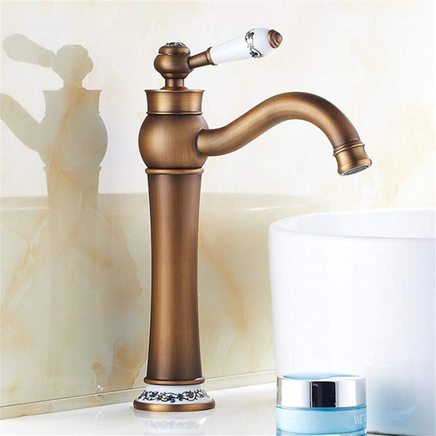 Faucets Basin Mixer Brass Antique Kitchen Faucet Bathroom Basin Faucet bluee and White Porcelain Deck Mounted with 2Pcs Water Hose