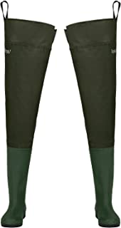 Hip Waders, Lightweight Waterproof Hip Boots for Men and Women, PVC/Nylon Fishing Hunting Bootfoot with Cleated Outsole, Size 7-Size 13, Army Green
