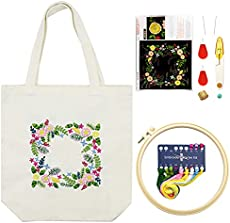 FULUDM Embroidery Kit for Beginners with Pattern Canvas Tote Bag for Adults Embroidery Starter Kits with Instruction Hoop Floss Threads Tools DIY Art Crafts Sewing Set Gift (White)