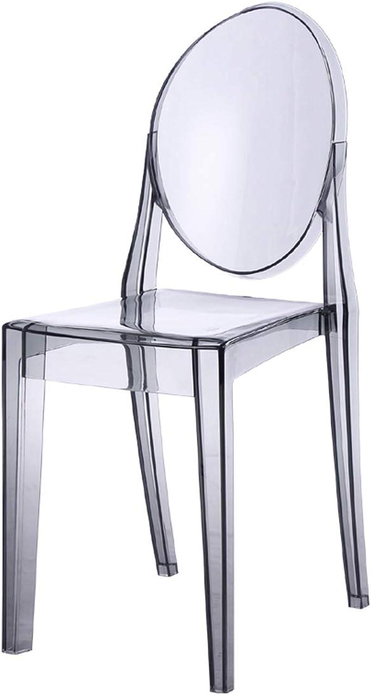 LRW European Chair Plastic Modern Creative Bar, Dining Chair, Computer Chair, Transparent Grey.