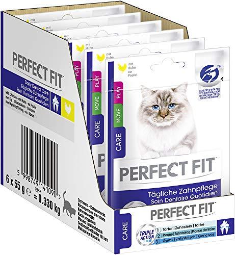 Perfect Fit tägliche Zahnpflegesnacks für Katzen mit Huhn, 6 Packungen (6 x 55 g)