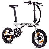 Chrisson ERTOS 16 - Bicicleta eléctrica plegable con motor de buje trasero (250 W, 36 V, 30 Nm, Pedelec para hombre y mujer), color blanco