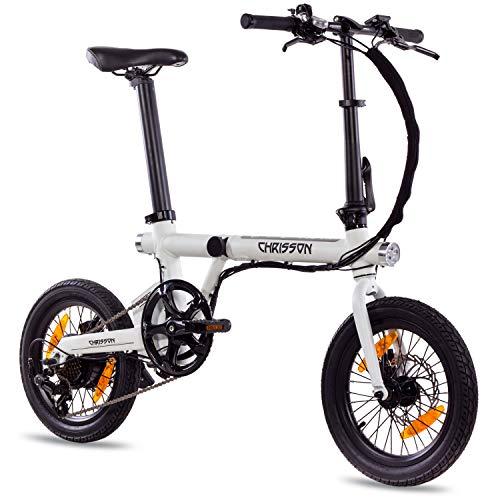 CHRISSON 16 inch E-Bike vouwfiets ERTOS 16 wit - E-vouwfiets met achterwiel naafmotor 250W, 36V, 30 Nm, Pedelec vouwfiets voor dames en heren, praktische elektrische vouwfiets