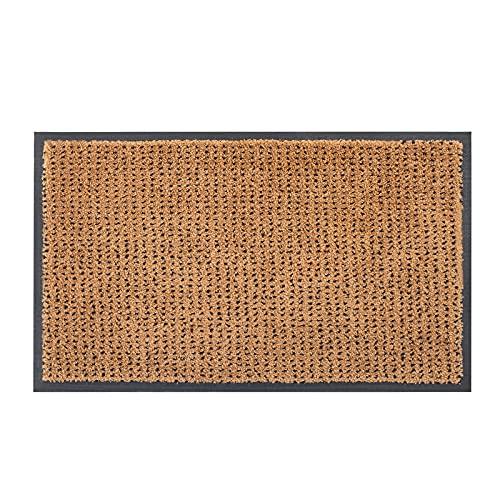 """Durable Home Entrance Door Mats - Front Door Welcome Rug Indoor Outdoor Low-Profile Doormat for Entry, Patio, Garage, Entrance Way, 35""""x23.5"""", Brown"""