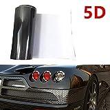 WDragon Película de vinilo de fibra de carbono negra de alto brillo con textura de 3 capas de vinilo 5D para bricolaje (30 cm x 2 metros)