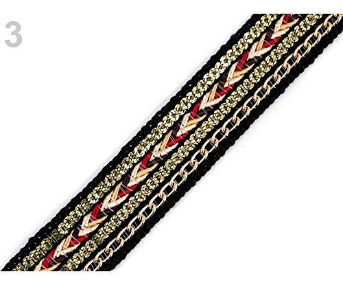 1m Schwarze Kleidung Geflecht Trimmen Mit Pailletten Und Kette Breite 25 mm, Litzen Borten - Indische-orientalische Motive, Kurzwaren