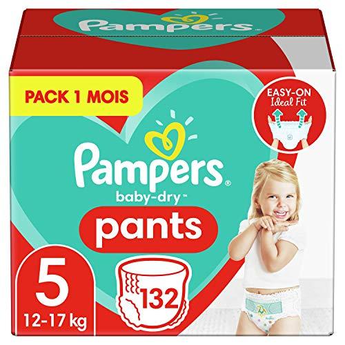 Pampers Couches-Culottes Baby-Dry Pants Taille 5 (12-17kg) Maintien 360° pour Éviter les Fuites, Faciles à Changer, 132 Couches-Culottes (Pack 1 Mois)