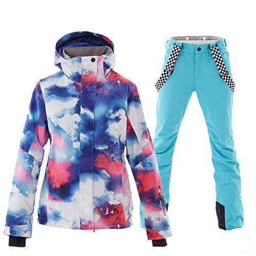 Skianzug weiblich, Winddicht wasserdicht warme, atmungsaktive Damen-Skijacke aus Doppelboardfurnier,...