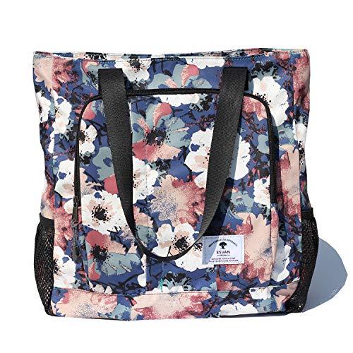 Large Travel Tote Water Resistant Shoulder Bag Lightweight Gym Tote for Men Women Unisex Day Bag (Blue White flower)