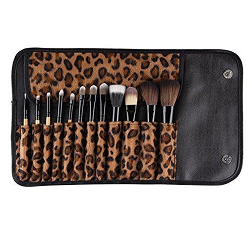 Sanwood 12stk. Pinceaux de Maquillage Leopard couleur sac Beauty Pinceau