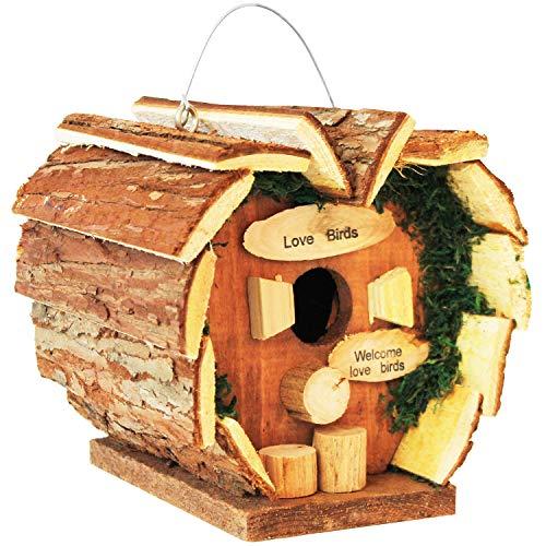 Multistore 2002 - Piccola casetta per uccelli 'Love Birds' da appendere, 16 x 14 x 16 cm, casetta per uccelli in legno