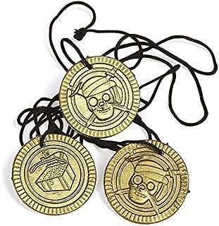 cama24com Piraten-Party Halsketten mit Totenkopf-Münze Goldmünzen 12 Stück Mitgebsel Geburtstagstüte Palandi®