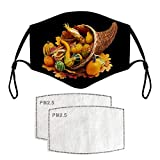 Reusable - Material: Cotton blend, Made in USA or Imported. Adjustable earloop Unisex Adults Fashion Happy Thanksgiving Face_Mask Printed Festival Decorations. Multiple Applications - This general size should fit all of your family members - Men, Wom...