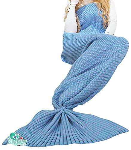 Hughapy Knitted Mermaid Tail Blanket for Kids Crochet Snuggle Mermaid,All Seasons Seatail Sleeping Bag Blanket (Kids,Blue)