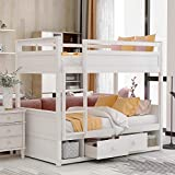 Twin Over Twin Bunk Bed with Storage Drawers, Wood Twin Bunk Bed Frame for Kids