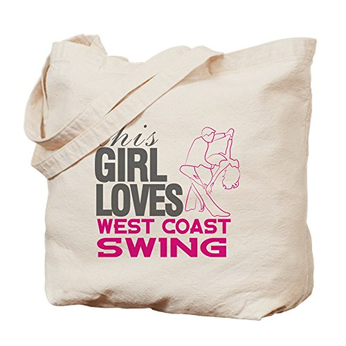 CafePress This Girl Loves West Coast Swing Natural Canvas Tote Bag, Reusable Shopping Bag