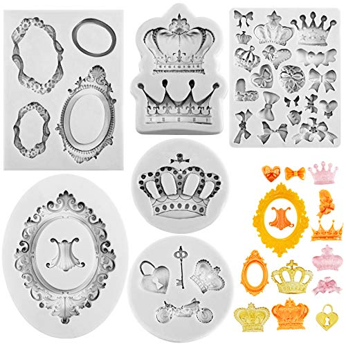 6 Pieces Vintage Frame Fondant Mold Baroque Style Crown Fondant Mold Photo Frame Silicone Mold for DIY Topper Cake Decorating Sugar Chocolate Cookies Polymer Clay and Crafting Projects