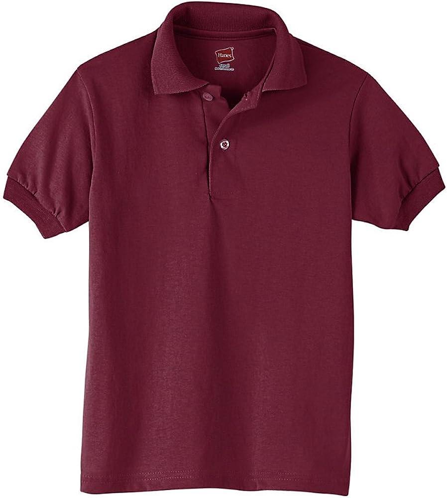 Hanes Boys' Cotton-Blend Jersey Polo_Maroon_L