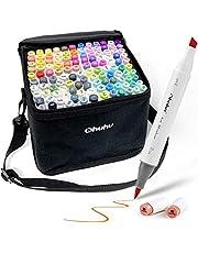 120 - Kleurmarkeringen Set Ohuhu dubbele tip penseel & Beitel schets marker voor kinderen, kunstenaar, studenten, penseelstiften voor schetsen, volwassen kleuren, Kalligrafie, tekenen en illustratie Markers