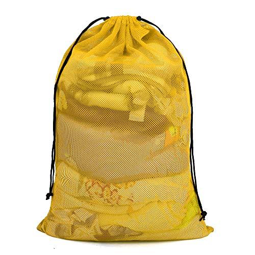 BeeGreen Mesh Drawstring Bag Machine Washable Durable 24 x 36 Inches Extra Large Laundry Bag Adjustable Sliding Drawstring Cord Closure Yellow Mesh Laundry Bag for Delicates