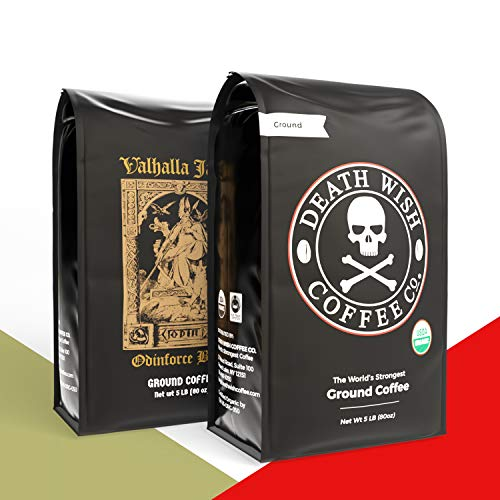 Death Wish Coffee Company Ground Coffee [5 lbs each pack] Bundle with Valhalla Java Ground Coffee [5 lbs each pack]   USDA Certified Organic, Fair Trade   Arabica and Robusta Beans