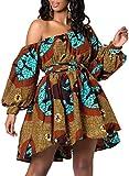 OLIPHEE Vestiti Causuale Disegno di Stile Etnica Manica della Lanterna per Donna e Ragazze Huang...