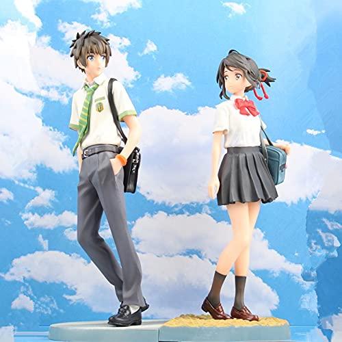 MIRECLE Anime Tachibana Taki Miyamizu Mitsuba Amantes Traje Conjunto de Decoración Modelo de Regalo 23 cm