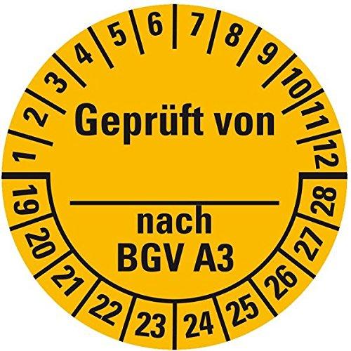 LEMAX® Prüfplakette Geprüft von-nach BGV A3 19-28, gelb, Dokufolie, Ø 25mm, 105/Heft
