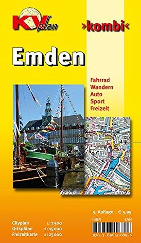 Emden: 1:15.000, mit Freizeitkartenseite 1:25.000, Cityplan 1:7.500: Cityplan 1 : 7.500 - Ortspläne 1 : 15 000 - Freizeitkarte 1 : 25 000. Fahrrad. ... Sport. Freizeit (KVplan Ostfriesland-Region)