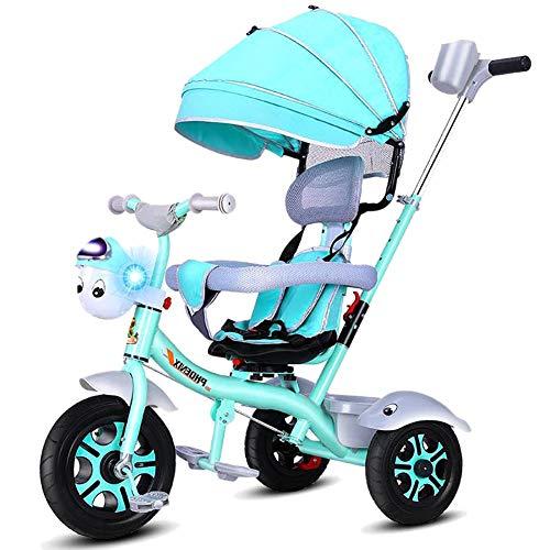 Bébé GUO@ Enfants Trike 3 Wheeler Titanium Vides Tricycle pour Enfants Porte Flash avec SièGe pour Guidon Et Baldaquin pour Parents 1-3-6 Ans SièGe Pivotant pour Chariot à