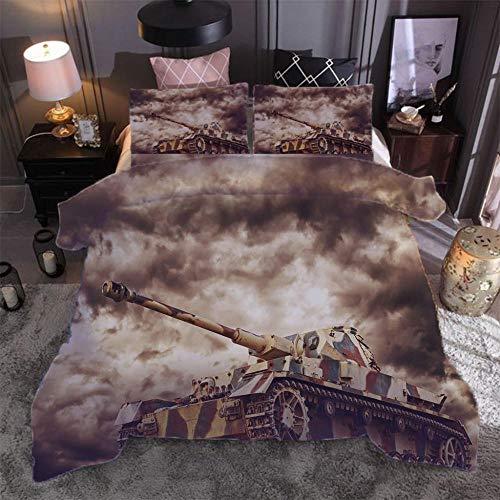 SMXSSJT 3D Print Bettwäsche Panzer Super Weiche Und Mikrofaser Einfache Bettwäsche Set Gemütlich Bettbezug Kissenbezug.220X240Cm