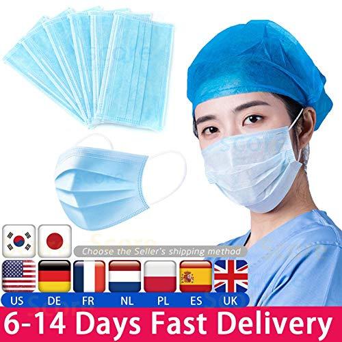 Einweg Maske 3-Lagige Maske 50 Stück Gesichtsmundmasken Vlies Einweg-Anti-Staub-Schmelzgeblasene Stoffmasken Earloops-Masken, 10 Stück, China