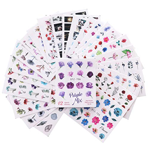 Conjunto de pegatinas de uñas de flores, 24 estilos Acuarela floral calcomanías de uñas Transferencia de agua Decoración de manicura para mujeres