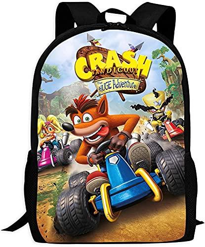 Crash Bandicoot - Mochila de gran capacidad, holgada y cómoda, para niños y niñas, A7., 16 Zoll (Grundschule),