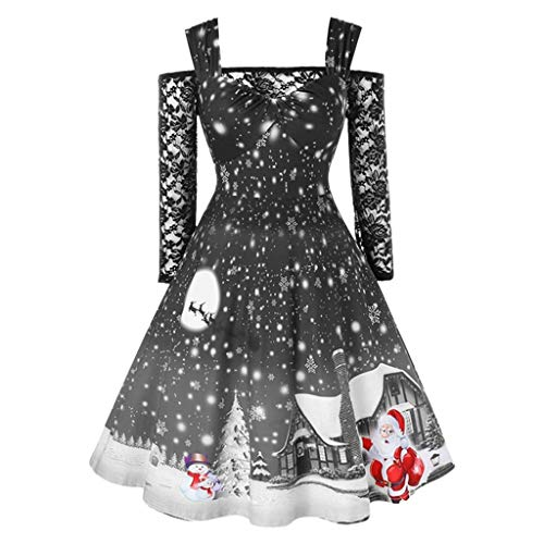 Cramberdy Damen Kleider Weihnachten Cocktailkleid Frauen Spitze Spleißen Schulterfrei Sexy Partykleid Blusenkleider Ballkleid Festkleid Langarm Abendkleider Ballkleid Vintage A-Linie Kleider