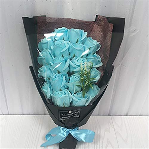Flores Artificiales 18 Unids Creativo Ardido Jabón Artificial Flores Ramo Caja Regalo Simulación Rosa Día San Valentín Cumpleaños Regalo Decoración Regalo ( Color : Tiffany blue , Size : White bag )