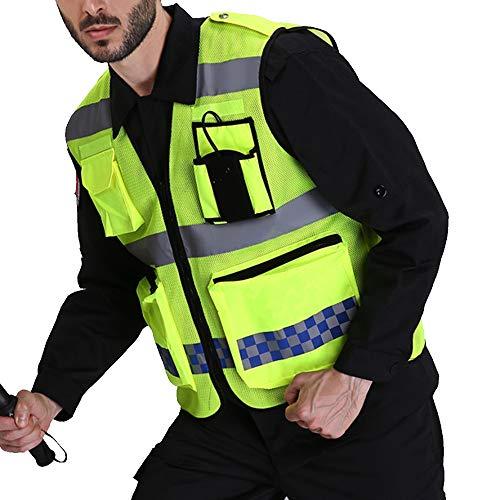 Puimentiua Chaleco de Seguridad Fluorescente Multibolsillos de Hombre Uniforme Trabajo Alta Visibilidad Amarillo Reflectante Única Talla