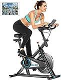 ANCHEER Bicicleta de Spinning, Bici estática Indoor de Volante de Inercia de 10 kg, Bicicletas de Ejercicio App Conexión Resistencia/Sillin Ajustable y Pantalla LCD para Ejercicio en Casa