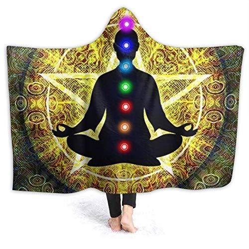 DPQZ Decke mit Kapuze, für Yoga, Meditation, Chakra, Universum, weich, bequem, Flanell, Fleece, Bett, leicht,...
