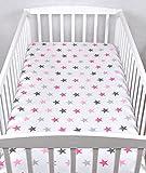 BABYLUX Kinder Baby SPANNBETTLAKEN Spannbetttuch Baumwolle 60x120 70x140 Sterne (70x140 cm, 93. Sterne Rosa)