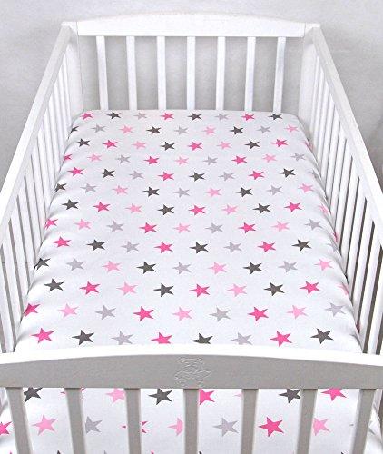 BABYLUX Kinder Baby SPANNBETTLAKEN Spannbetttuch Baumwolle 60x120 70x140 Sterne (60x120 cm, 93. Sterne Rosa)