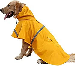 NACOCO Large Dog Raincoat Adjustable Pet Water Proof Clothes Lightweight Rain Jacket Poncho Hoodies with Strip Reflective…