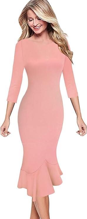 VFSHOW Womens Elegant Cocktail Dress Bodycon Mermaid Mid-Calf Dress, Pretty Valentine Dresses for date night