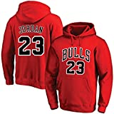 GZZ Herren/Damen Basketball Hoodie Pullover Michael Jordan # 23 Chicago Bulls Sweatshirt Lose Trainings- / Jogging-Langarm-Dünnjacke (Color : Red, Size : 3XL)